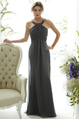 Ruched Sleeveless Halter Chiffon Bridesmaid Dress With Straps