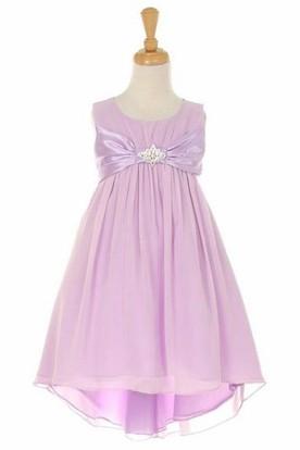 Midi Empire Broach Bowed Chiffon&Satin Flower Girl Dress