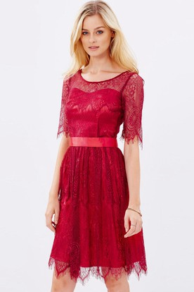 Mini Half Sleeve Scoop Neck Ribboned Lace Bridesmaid Dress