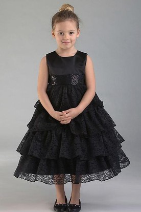 Tea-Length Lace&Sequins Flower Girl Dress