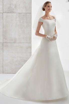 Simple Cap-Sleeve Satin A-Line Wedding Dress With Brush Train And Lace Straps