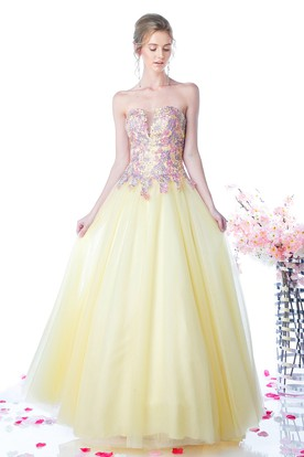 Ball Gown Strapless Tulle Satin Low-V Back Dress With Appliques And Beading