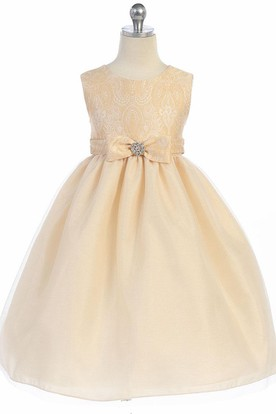 Tea-Length Tiered Bowed Tulle&Satin Flower Girl Dress