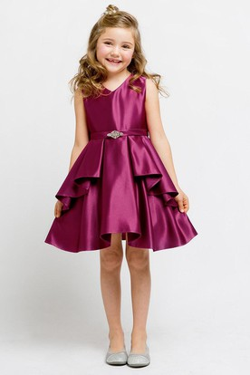 Knee-Length Split Beaded Split-Front Satin Flower Girl Dress With Sash
