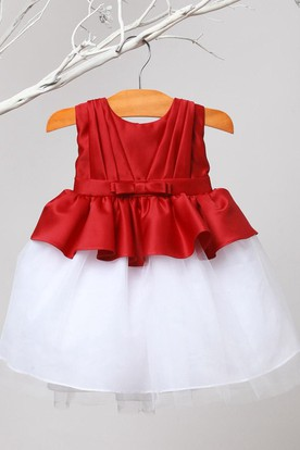 Knee-Length Peplum Pleated Tiered Tulle&Satin Flower Girl Dress With Sash