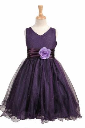 V-Neck Midi Tiered Charmeuse Flower Girl Dress