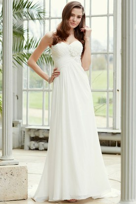 Sweetheart Floor-Length Criss-Cross Empire Chiffon Wedding Dress