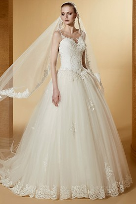 Cap Sleeve Appliques Ball Gown With Illusive Jewel-Neck And Lace Bodice