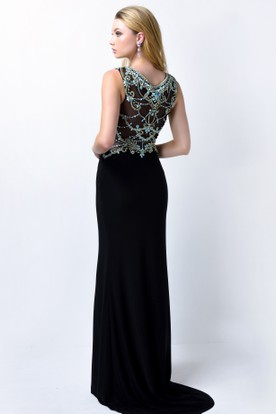 Sheath Long Scoop-Neck Sleeveless Jersey Illusion Dress With Beading And Split Front