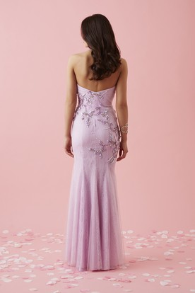 Sheath Maxi Sweetheart Tulle Lace Backless Dress With Beading And Pleats
