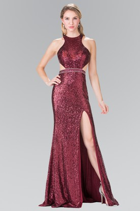 Sheath Maxi Jewel-Neck Sleeveless Sequins Straps Dress With Split Front And Beading