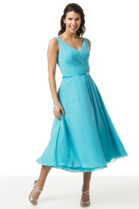 V-Neck Tea-Length Ruched Chiffon Bridesmaid Dress With Broach And V Back