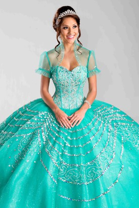 Sweetheart Sequined Ball Gown With A Matching Illusion Jacket