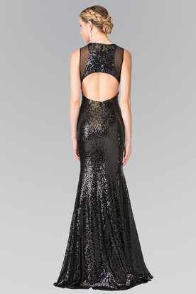 Sheath Long Jewel-Neck Sleeveless Sequins Keyhole Dress