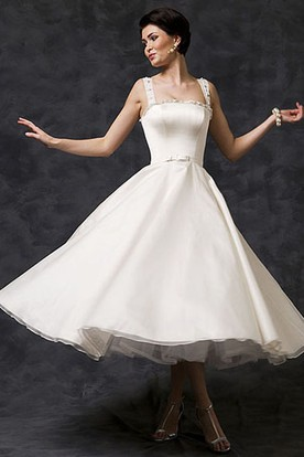 Tea-Length A-Line Sleeveless Strapped Beaded Satin Wedding Dress