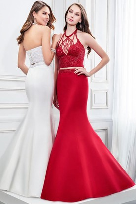 Mermaid Halter Neck Beaded Sleeveless Satin Prom Dress