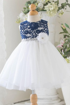 Floral Tiered Tulle&Lace Flower Girl Dress