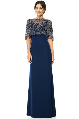 Floor-Length High Neck Appliqued Half Sleeve Jersey Evening Dress With Illusion