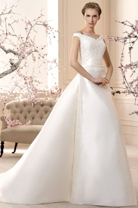 Floor-Length V-Neck Appliqued Satin Wedding Dress