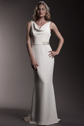 Cowl Floor-Length Jeweled Chiffon Wedding Dress With Brush Train And Backless