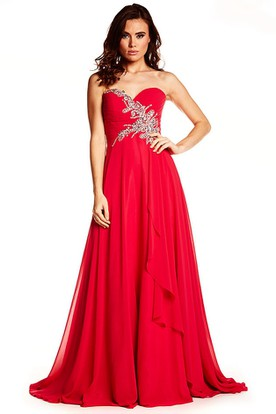 Maxi Sleeveless Sweetheart Beaded Chiffon Prom Dress