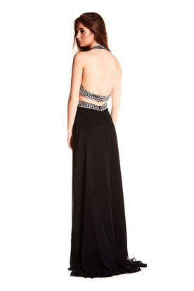 Beaded Sleeveless Halter Chiffon Backless Prom Dress