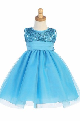 Tea-Length Pleated Empire Tiered Tulle&Sequins Flower Girl Dress With Sash