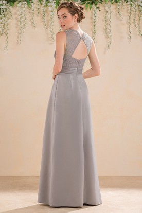 V-Neck Sleeveless A-Line Bridesmaid Dress With Lace Bodice And Keyhole Back