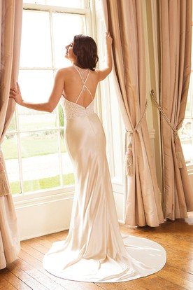 Sheath Scoop-Neck Sleeveless Satin Wedding Dress With Beading And Straps
