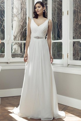 Floor-Length V-Neck Criss-Cross Pleated Chiffon Wedding Dress