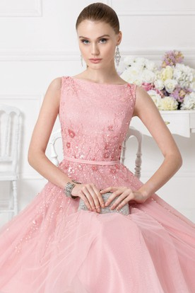 A-Line Knee-Length Beaded Bateau Neck Sleeveless Tulle Prom Dress