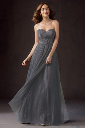 Sweetheart A-Line Floor-Length Bridesmaid Dress With Appliques