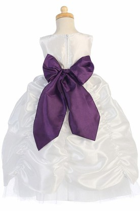 Tiered Tulle&Taffeta Flower Girl Dress