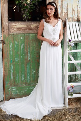 Sleeveless Ruched V-Neck Chiffon Wedding Dress With Beading