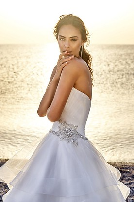 Ball Gown Sweetheart Tulle Wedding Dress With Criss Cross And Tiers