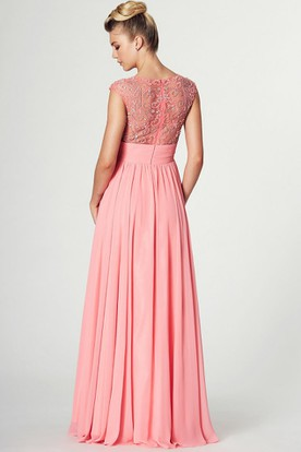 Ruched Scoop Neck Sleeveless Chiffon Prom Dress With Pleats And Beading