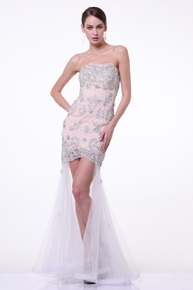 Sheath Maxi Strapless Sleeveless Brush Train Backless Dress With Beading