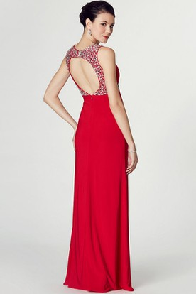 Floor-Length Sleeveless Beaded Strapped Jersey Prom Dress With Keyhole