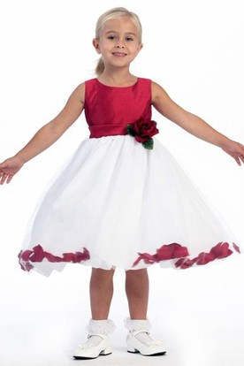 Tea-Length Floral Tulle Flower Girl Dress