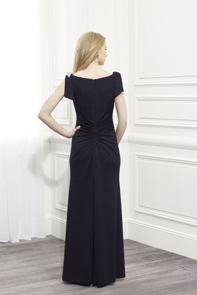 Ruched Cap Sleeve Chiffon Mother Of The Bride Dress