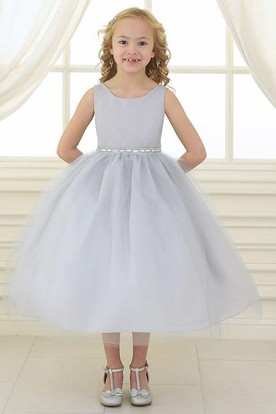 Beaded Tulle&Satin Flower Girl Dress