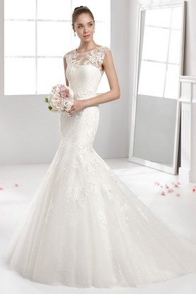 Jewel-Neck Mermaid Lace-Applique Gown With Illusive Neckline And Pleated Train