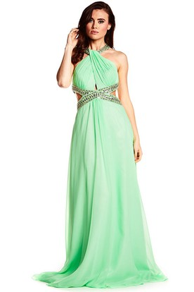 Halter Sleeveless Beaded Chiffon Prom Dress With Brush Train