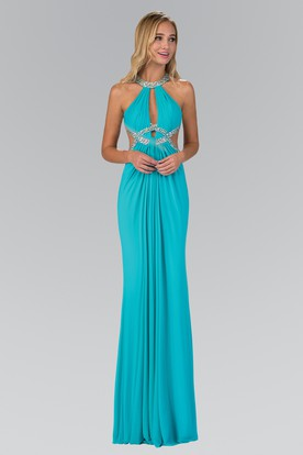 Sheath Maxi Scoop-Neck Sleeveless Chiffon Dress With Beading And Pleats