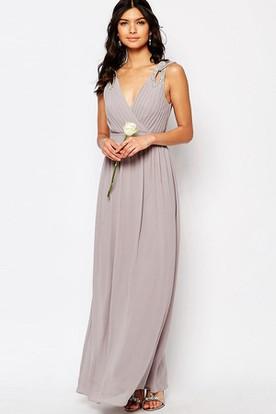 Ankle-Length Beaded Sleeveless V-Neck Chiffon Bridesmaid Dress With Ruching