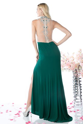 Sheath High Neck Sleeveless Jersey Illusion Dress With Split Front And Beading