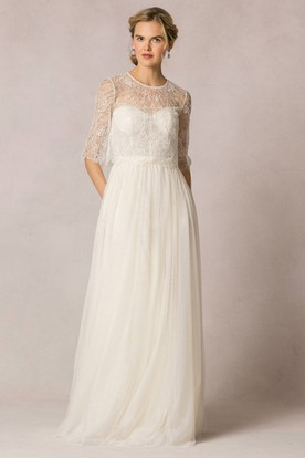 Sheath Lace Half Sleeve Long Scoop Neck Tulle Wedding Dress