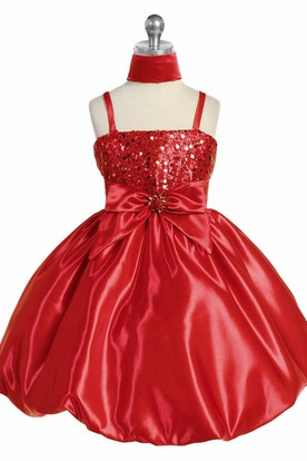 Spaghetti Midi Cap-Sleeve Bowed Sequins&Satin Flower Girl Dress With Cape