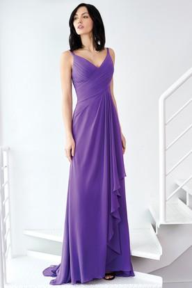 Floor-Length Sleeveless Criss-Cross Spaghetti Chiffon Bridesmaid Dress