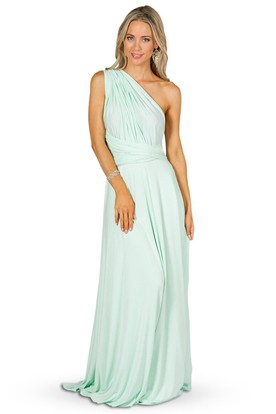 Strapped Sleeveless Ruched Chiffon Convertible Bridesmaid Dress